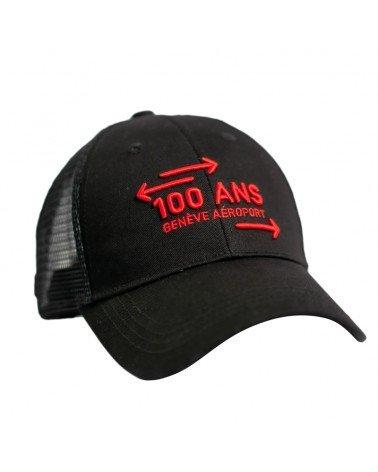 Casquette noire Genève Aéroport, avec le logo des 100 ans