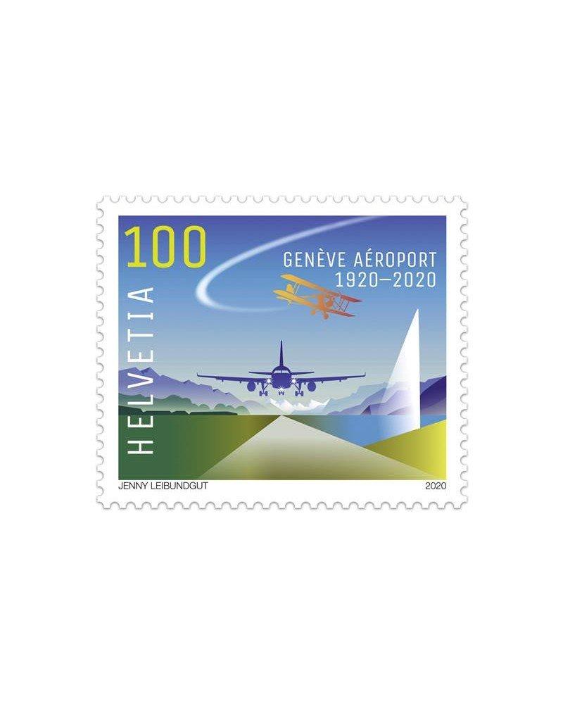 Timbre des 100 ans de Genève Aéroport