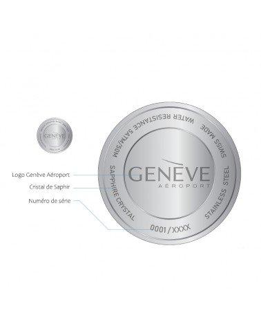 Dos de la montre avec le numéro de série et le logo Genève Aéroport